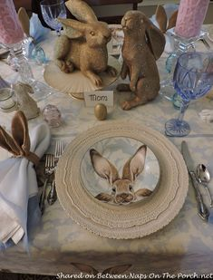 Easter Spring Table With Williams Sonoma Damask Bunny Plates featured on Between Naps on the Porch