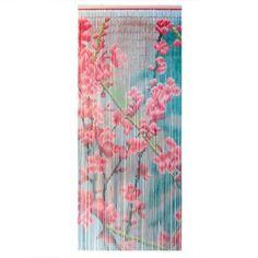 Eminza - Eminza Rideau de porte 90 x H200 cm, Bambou Fleurs Rose - 90x200