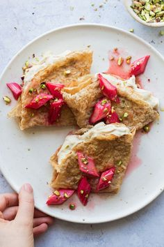 Buckwheat crepes with cashew cream and rhubarb make a delicious, dairy-free Pancake Day treat. They are naturally vegan and can be gluten-free too. Vegan Breakfast Recipes, Vegan Recipes, Pancake Recipes, Vegan Food, Vegan Sweets, Drink Recipes, Vegan Ideas, Waffle Recipes, Raw Food