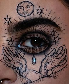 """""""The all seeing eye👁 I did this today because the look I did yesterday went BAD so I had to make up for it Inspired by some pictures I found of tarots and alchemy"""" Grunge Look, 90s Grunge, Grunge Style, Soft Grunge, Grunge Outfits, Edgy Makeup, Cute Makeup, Makeup Inspo, Beauty Makeup"""