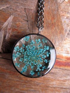 Pretty Turqoise Queen Annes Lace Pendant Real by ScrappinCop, $10.00