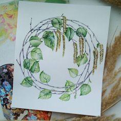 Березовый венок для предпоследнего задания марафона рисования от @lisa.krasnova и @art_markers. У многих уже весна в самом разгаре, одуванчики, трава по колено, у нас только первые листья появляются. Как так?) #lk_sketchflashmob #watercolor #art #акварель #учусьрисовать #рисуюкаждыйдень #рисунок #береза #венок #открытка #творчество