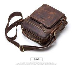 Bag men leather shoulder vintage messenger crossbody handbag sling - Men's style, accessories, mens fashion trends 2020 Vintage Messenger Bag, Messenger Bag Men, Cow Leather, Vintage Leather, Leather Bags For Men, Handmade Leather, Leather Belts, Handbags For Men, Luxury Handbags