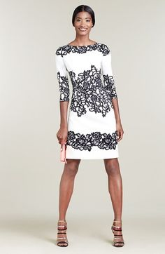 Adrianna Papell Placed Print Dress (Regular & Petite) | Nordstrom