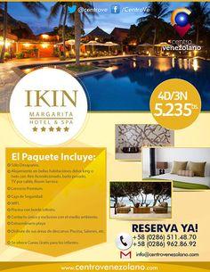"""¿Quisieras disfrutar el paisaje y la tranquilidad de la Isla de Margarita? Tenemos el paquete turístico perfecto para ti: 4D/3N en el Maravilloso y Lujoso """"IKIN Hotel & Spa"""". ¡¡No puedes dejar pasar esta increíble oportunidad!!"""