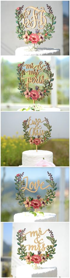 bridenew created personalized wedding cake toppers printed with colorful floral vectors. Informations About bridenew created personalized wedding cake toppers printed with colorful floral . Wood Wedding Cakes, Floral Wedding Cakes, Wedding Cake Decorations, Wedding Table, Trendy Wedding, Diy Wedding, Wedding Ideas, Decor Wedding, Beach Cake Topper