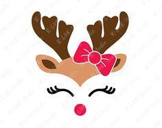 Renne SVG, Noël SVG, Svg de tête de renne renne Clip Art, Rennes Face à SVG, renne de Noël, Cricut, Silhouette coupe fichier