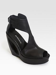 These are fun and wedges are soooo summer! Ann Demeulemeester Leather Cutout Wedge Sandals.