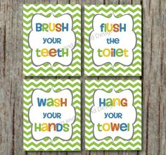 Kids Bathroom Wall Art bathroom art print set - 5x7- kids bathroom wall decor, bathroom