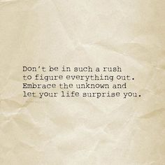 Don't be in such a rush to figure everything out. Embrace the unknown and let your life surprise you. thedailyquotes.com