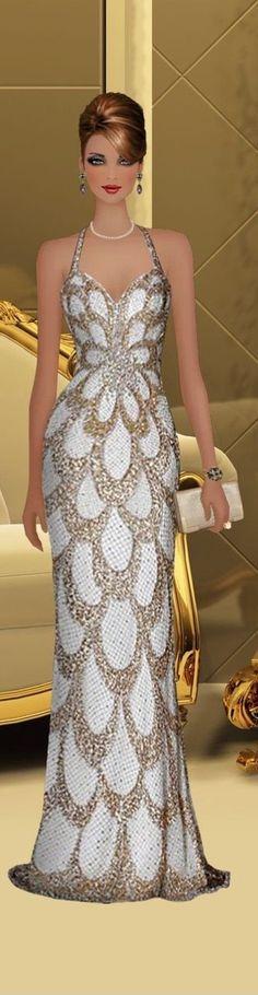 Classy Evening Gowns, Beautiful Evening Gowns, Evening Dresses, Fabulous Dresses, Unique Dresses, Elegant Dresses, Formal Dresses, Fashion Dolls, Fashion Art