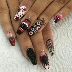 Best Halloween nails ever. Are you looking for easy Halloween nail art designs for October for Halloween party? See our collection full of easy Halloween nail art designs ideas and get inspired! Nail Art Halloween, Halloween Nail Designs, Cute Nail Designs, Halloween Coffin, Spooky Halloween, Halloween Costumes, Halloween Vampire, Halloween Ideas, Halloween Party