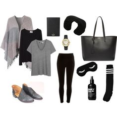 Outfit for Long Haul Flight by hollyapros on Polyvore featuring The Great, La Garçonne Moderne, River Island, Boohoo, Yves Saint Laurent, Kate Spade, Victorinox Swiss Army and Free People