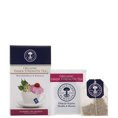 NEW Organic Inner Strength Tea  With Elderflower & Echinacea  A warming boost to beat the winter blues.  A wonderfully comforting blend in winter months, when the body feels chilly, or generally at a low ebb. With echinacea, elderberry and astragalus to help boost the body's natural defences, antioxidant-rich acerola, elderflower and warming ginger to pep up vitality.