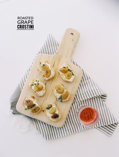 Roasted Grape Crostini  #grapes, #honey, #bread, #recipe, #crostini, #goat-cheese  Read More: http://www.stylemepretty.com/2014/05/21/floral-arranging-rose-tasting-party/