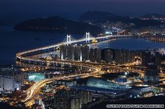 Gwangan Bridge. Also known as the Diamond Bridge, this two-story bridge connects Suyeong-gu and Haeundae-gu and offers an astonishing view of mountains, sandy beaches, hills and city lights.   Kwang-An Bridge is not for pedestrians, but anyone can enjoy the spectacular night view of the bridge from afar; its state-of-the-art lighting system allows an exterior lighting of over 100,000 colors.