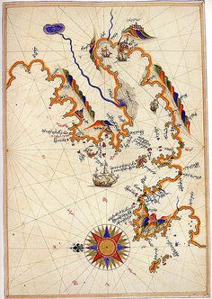 Map of Smyrna by Ottoman admiral, geographer, and cartographer, Piri Reis.