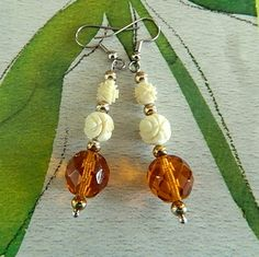 Pre ban  carved  ivory and amber glass  earrings | BellaWorxJewelry - Jewelry on ArtFire