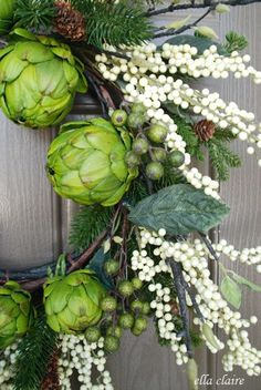 A new winter wreath for the front door with Ella Claire