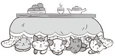 こたつにもぐる5匹の猫 イラスト モノクロ