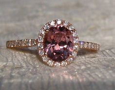 Precision Cut Oval Peachy Pink Spinel in Rose Gold Diamond Halo Engagement Ring, by JuliaBJewelry