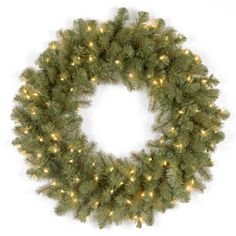 National Tree PEDD136924W FeelReal Downswept Douglas Wreath with 50 Clear ULLights 24Inch -- Continue to the product at the image link.