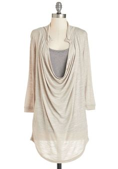 Quiet Day Top Set. A low-key afternoon calls for the easygoing charm of this sandy-grey top and its cute tank lining. #cream #modcloth