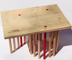 Spiral table w/red accents