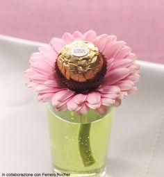 Flower and Ferrero Rocher place holder: nice for Easter.