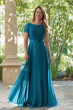 47bc1449f58 J215015 Lace   Jade Tiffany Chiffon MOB Dress with Boat Neckline