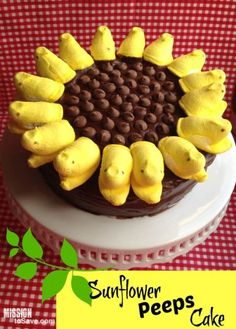 Easy and fun sunflower peeps cake dessert recipe with homemade chocolate frosting too!