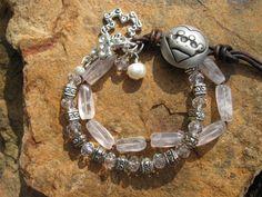 Rose Quartz Knotted bracelet western  Majesty  by fleurdesignz.etsy.com