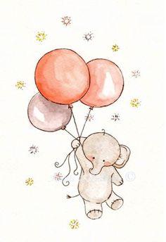 Original watercolour art 5 x 7 Nursery Art.....Fly me Away