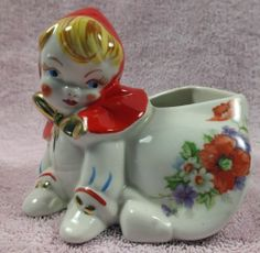 Excellent Vintage Little Red Riding Hood Pottery Crawling Creeping Sugar Bowl | eBay