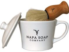$45 -Napa Soap Company - Shaving Brush and Mug Gift Set. 3 scents - mint, ocean blend & vintner