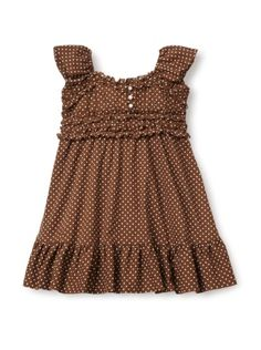 Amazon.com: Beetlejuice London Pretty Brown & Ivory Polka Dot Pearl Button Girls Dress: Clothing