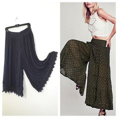 """Free People Culottes  This dark grey, wide-leg culottes from Free People made in 100% polyester, features small pleats detail and crochet-hem. Stretchy smocked waistband in back. This is size XS- tall petite, but it can probably fit size Small and even Medium. Inseam is about 17.5"""", Length is about 30"""". In excellent used condition. Tapers out from the waist to loose + swingy bottoms for a modern silhouette we love. Free People Other"""