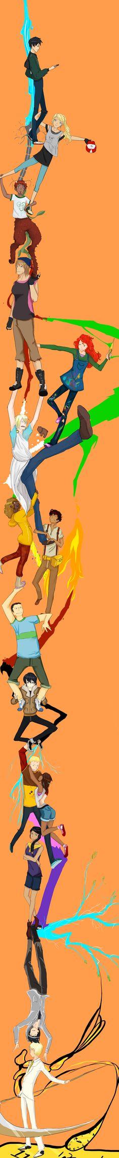 Percy, Annabeth, Grover, Clarisse, Rachel Dare, Octavian, Hazel, Leo, Frank, Nico, Jason, Piper, Reina, Thalia & Luke