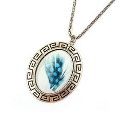 Fashion Exquisite Fringed Feather Print Embellished Pendant Alloy Sweater Chain Necklace For Women (AS THE PICTURE) | Sammydress.com