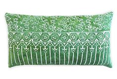 Batik 14x22 Cotton Pillow, Green on OneKingsLane.com