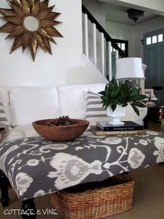 DIY UPHOLSTERY - How to Reupholster an Ottoman - COULD USE A COFFEE TABLE TO MAKE THIS OTTOMAN