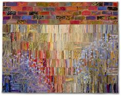 PRAIRIE/WALL #2: ASTER SEASON by Sue Benner 2012, art quilt: dye and paint on fabric (silk, cotton) fused collage mono-printed, machine quilted