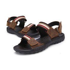 906b3e234ab789 Men Comfortable Leather Hook Loop Sandals Beach Sandals Shoes - US$46.99