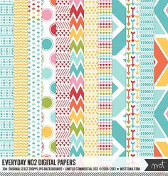 Everyday No2 Digital Papers - 12 patterns for scrapbooking cards invitations printables and more - instant download - CU OK MissTiina 6.00 CAD