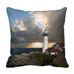 """Beautiful lighthouse and sunset decorator pillow. Comes in 16""""x16"""", 20""""x20"""" and 13""""x21"""".  Choose also from polyester and 100% grade A cotton.  Includes a hidden zipper enclosure and synthetic-filled insert.  Machine washable and wrinkle free.  http://www.zazzle.com/littlethingsdesigns?rf=238200194340614103"""