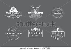 Set of premium labels on the themes of wildlife, nature, hunting, travel, wild nature, climbing, camping, life in the mountains, survival. Retro, vintage, casual design. #13
