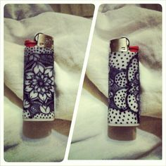 Zentangle doodle on lighter.  Diy - lighty sand surface with nail file, use sharpie to draw, let marker fully dry, cover surface with super glue, LIGHTLY sand again to smooth the surface once glue dries.
