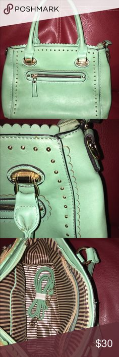 Mint handbag with tiny studs and ruffle detail Pretty mint green with ruffle details and tiny gold studs! Pretty for spring and summer! Bags Totes