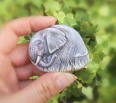 Elephant painted rock.