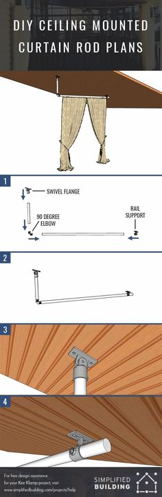 DIY Ceiling Mounted Curtain Rods (with Step-by-Step Instructions) Outside Curtains, Hanging Curtains, Drapes Curtains, Drapery, Ceiling Mount Curtain Rods, Pipe Curtain Rods, Small Rustic Bathrooms, Shower Rod, Window Coverings
